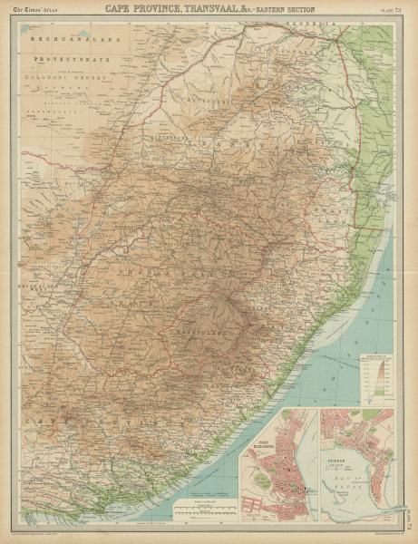 Associate Product Colonial Southeast Africa. Port Elizabeth Durban. Cape Transvaal. TIMES 1922 map