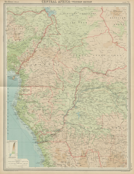 Associate Product Colonial Central Africa. Belgian Congo. French Equatorial Africa. TIMES 1922 map
