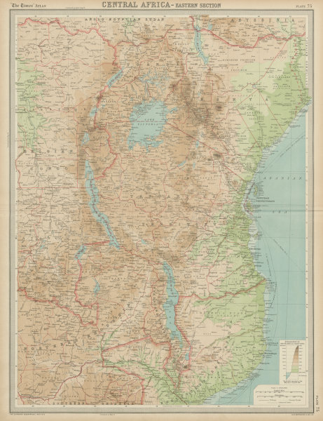 Associate Product Colonial East Africa. Tanganyika Territory. Tanzania Kenya. THE TIMES 1922 map