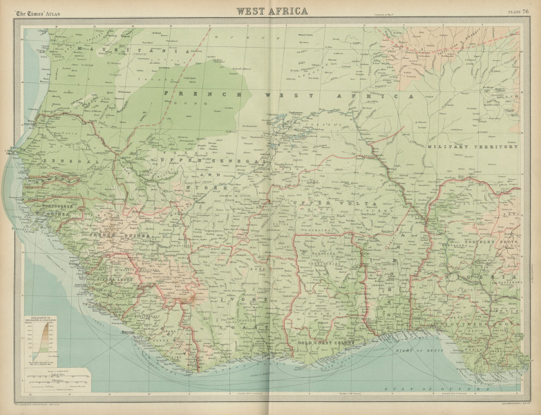 Associate Product Colonial & French West Africa. Gold Coast Dahomey Upper Volta. TIMES 1922 map