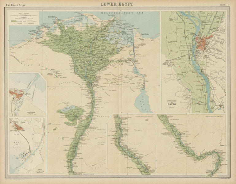 Associate Product Lower Egypt. Nile valley & delta. Cairo environs. Suez. Port Said TIMES 1922 map