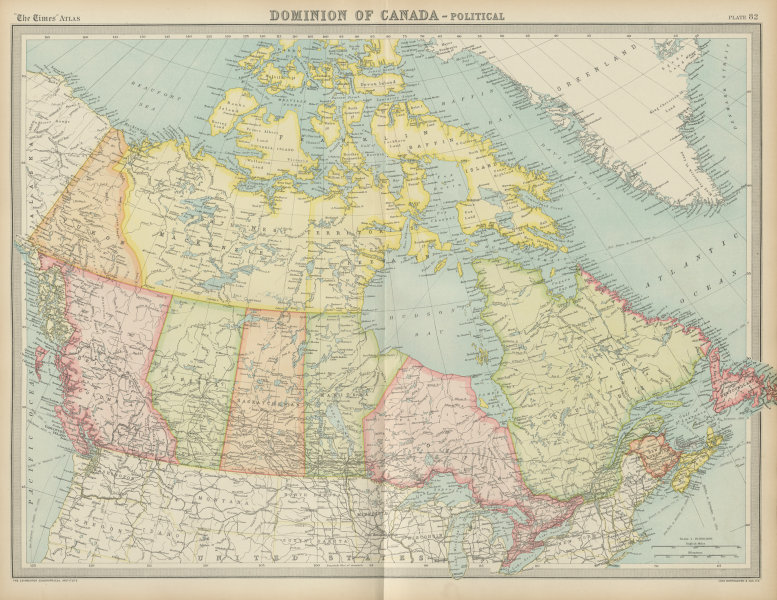 Associate Product Dominion of Canada - Political. Provinces & territories. THE TIMES 1922 map