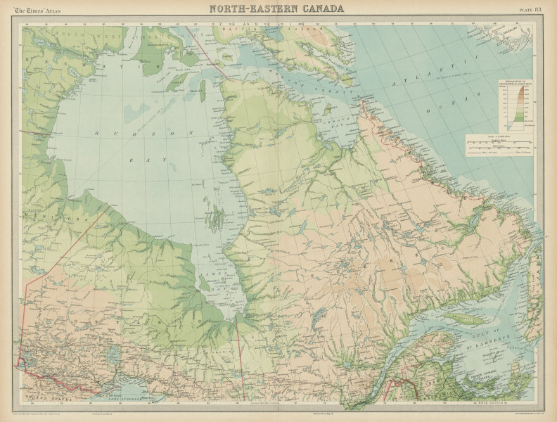 Associate Product North-eastern Canada. Hudson Bay. Labrador Quebec Ontario. THE TIMES 1922 map