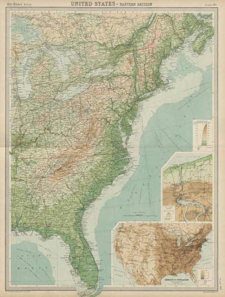 Associate Product Eastern United States. Atlantic seaboard. USA. Great Lakes. THE TIMES 1922 map