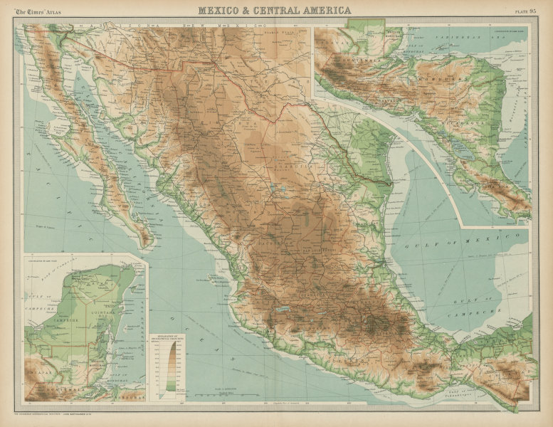 Associate Product Mexico & Central America. Relief railways. THE TIMES 1922 old vintage map