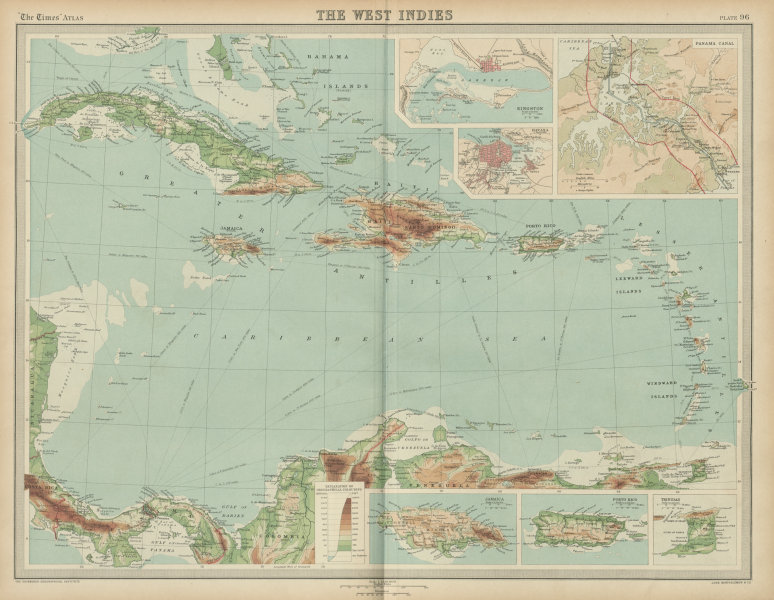 Associate Product West Indies & Caribbean. Panama Canal. Relief. THE TIMES 1922 old vintage map