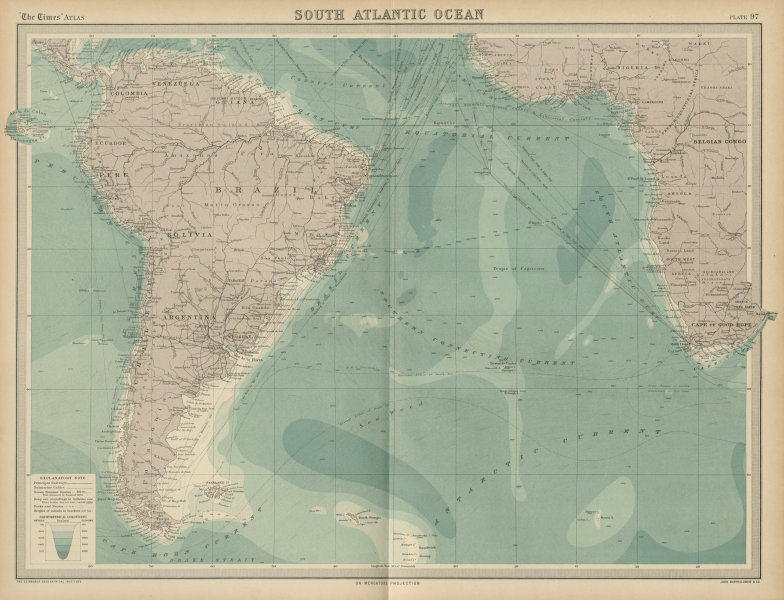 Associate Product South Atlantic Ocean. Shipping routes currents ocean depths. THE TIMES 1922 map