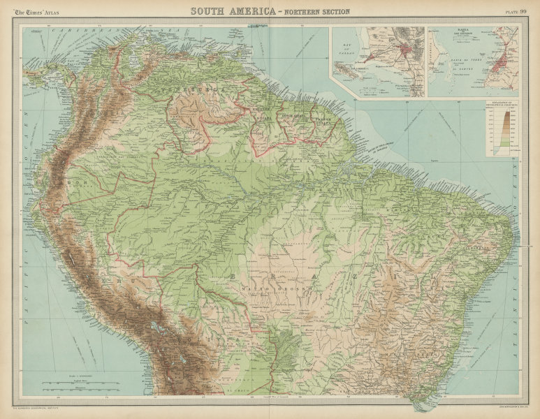 Associate Product Northern South America . Andean states. Brazil. Amazonia. Relief. TIMES 1922 map