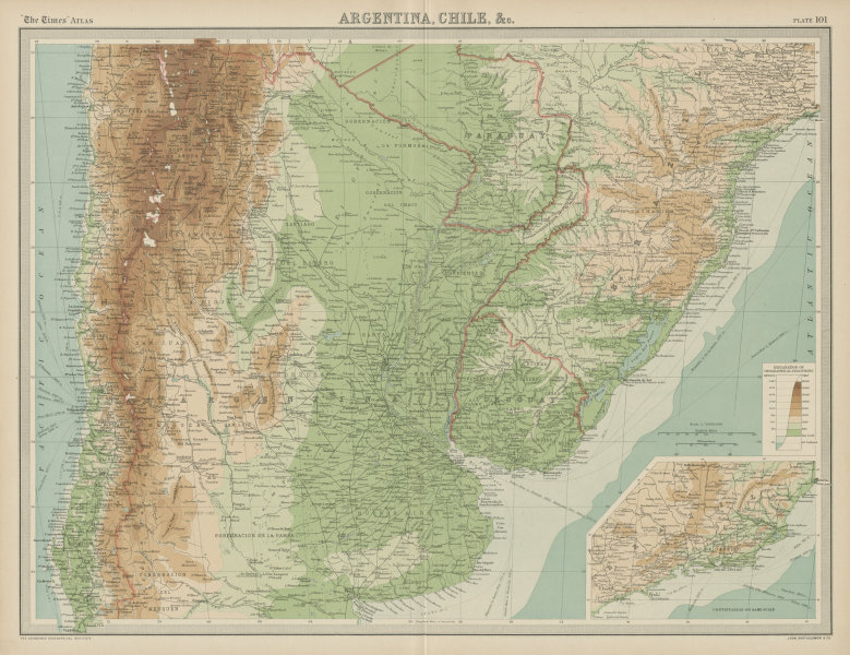 Associate Product Central South America. Argentina Chile Uruguay Paraguay Andes. TIMES 1922 map