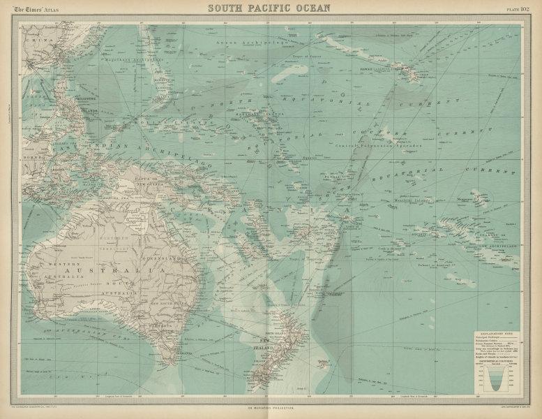 Associate Product South Pacific Ocean. Oceania Polynesia Melanesia Micronesia. TIMES 1922 map