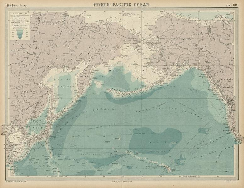 Associate Product North Pacific Ocean. Bering Sea. Siberia Alaska Japan Kamchatka. TIMES 1922 map