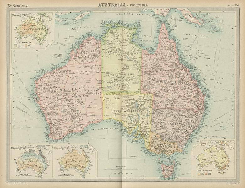 Associate Product Australia political. States territories. Vegetation rainfall. TIMES 1922 map