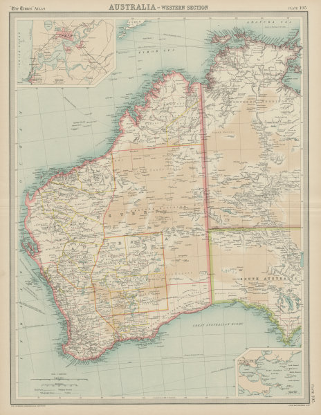 Associate Product Western Australia. Perth & Albany plans. THE TIMES 1922 old vintage map chart