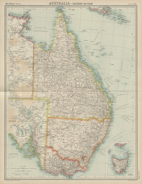 Associate Product Eastern Australia. Queensland New South Wales Victoria. THE TIMES 1922 old map