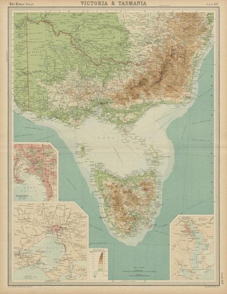 Associate Product Victoria & Tasmania. Melbourne & Hobart plans. Australia. THE TIMES 1922 map