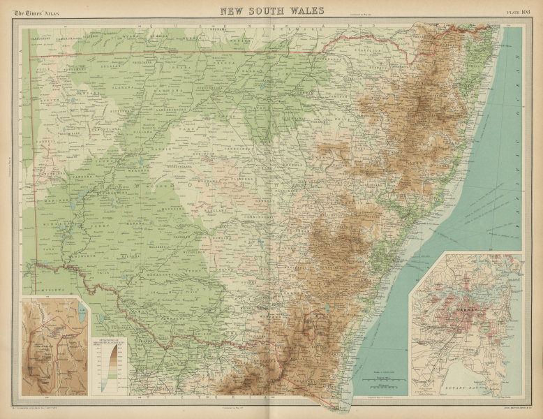 Associate Product New South Wales. Relief railways. Sydney. Commonwealth territory. TIMES 1922 map