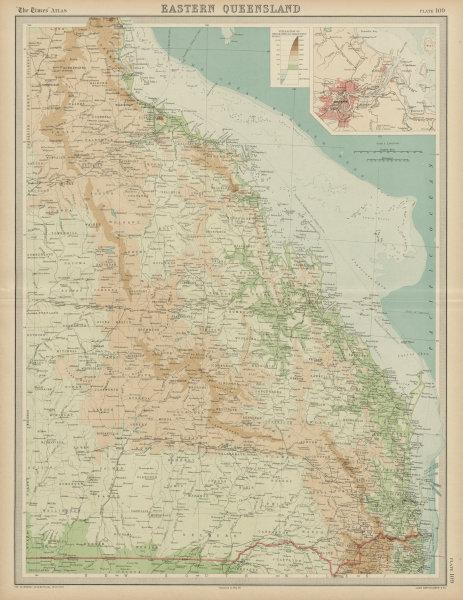 Associate Product Eastern Queensland & Great Barrier Reef. Relief railways Brisbane TIMES 1922 map