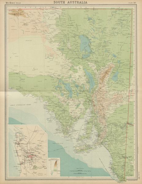 Associate Product South Australia. Relief & railways. Adelaide. THE TIMES 1922 old vintage map