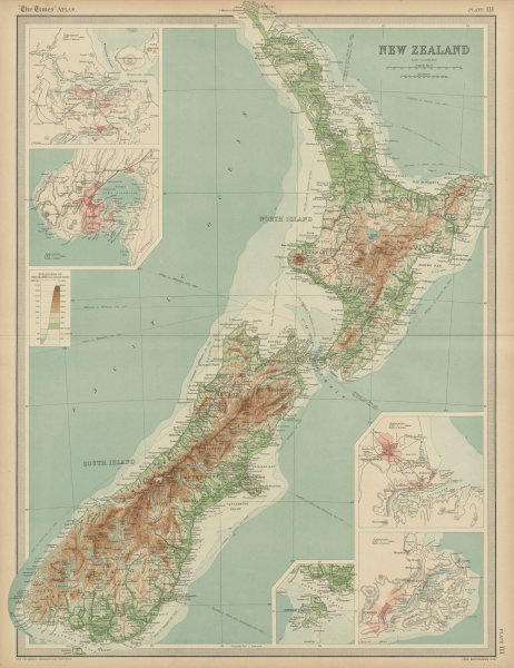 Associate Product New Zealand relief. Wellington Auckland Christchurch Dunedin. THE TIMES 1922 map