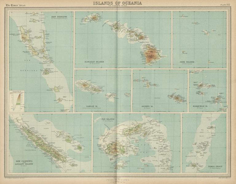 Associate Product Hawaii Cook Fiki Samoa Tonga Tahiti New Hebrides/Caledonia islands 1922 map