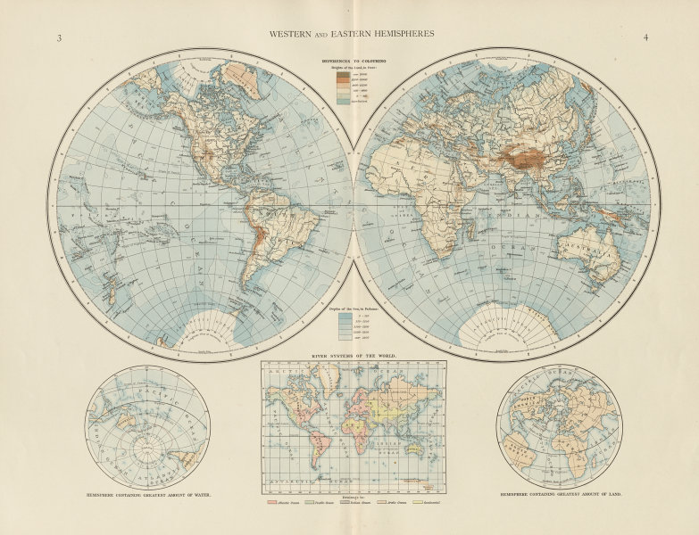 Associate Product World twin hemispheres. Western and Eastern. THE TIMES 1900 old antique map