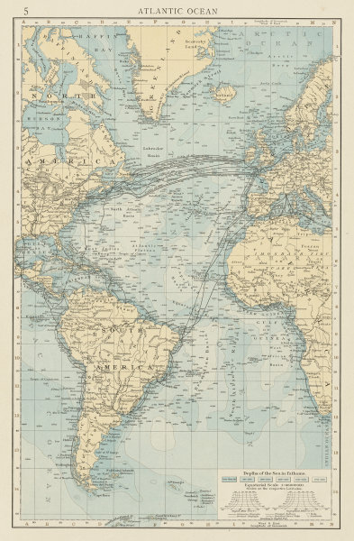 Associate Product Atlantic Ocean showing depths & telegraph cables. THE TIMES 1900 old map