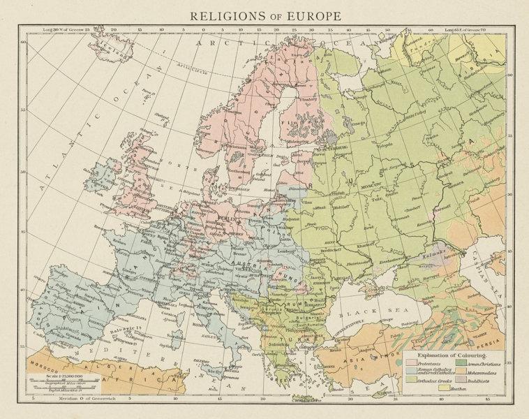 Associate Product Religions of Europe. Protestant Catholic Orthodox Islam Buddhist. TIMES 1900 map