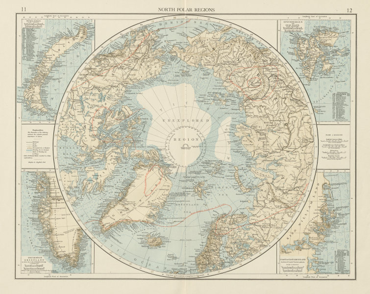 Details about North Polar regions. Arctic. Explorers. Greenland Svalbard.  THE TIMES 1900 map