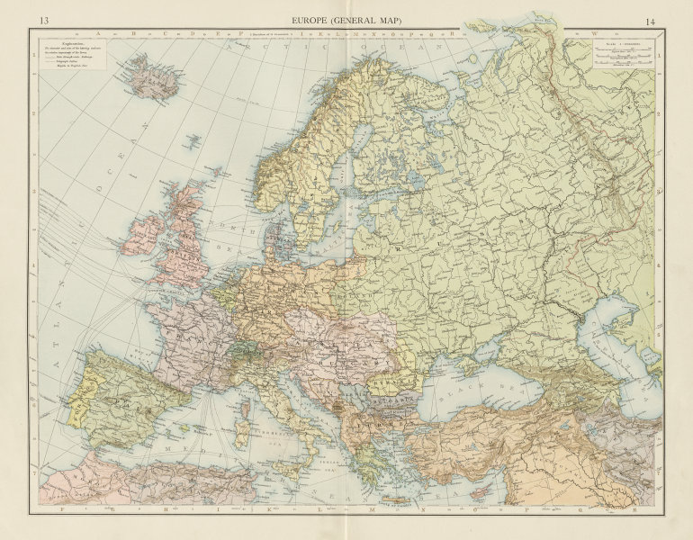 Associate Product Europe (General map). Political. THE TIMES 1900 old antique plan chart