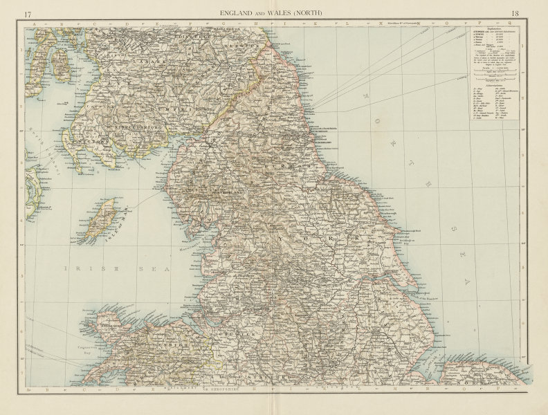 Associate Product England and Wales (North). THE TIMES 1900 old antique vintage map plan chart