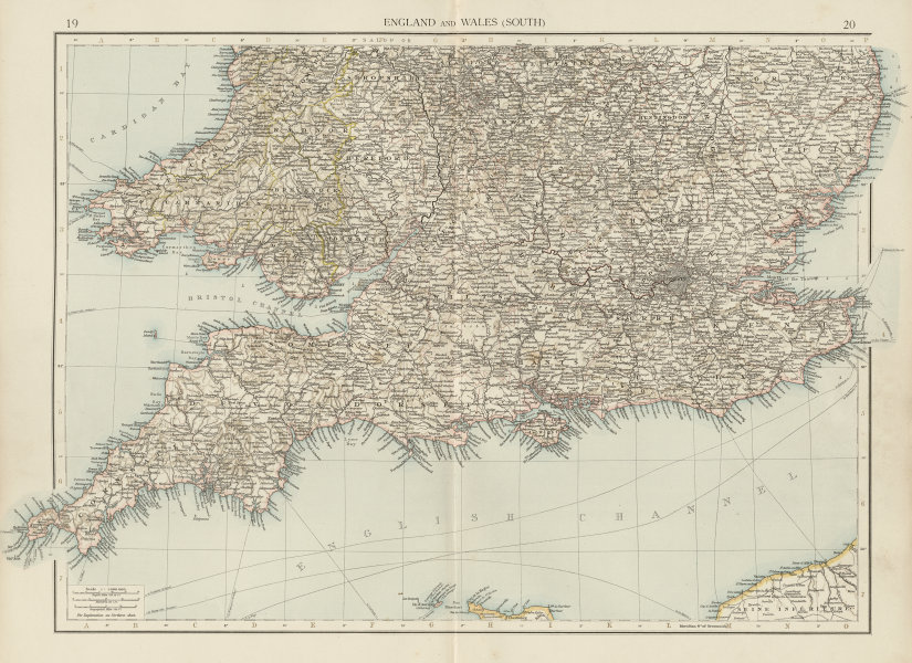 Associate Product England and Wales (South). THE TIMES 1900 old antique vintage map plan chart