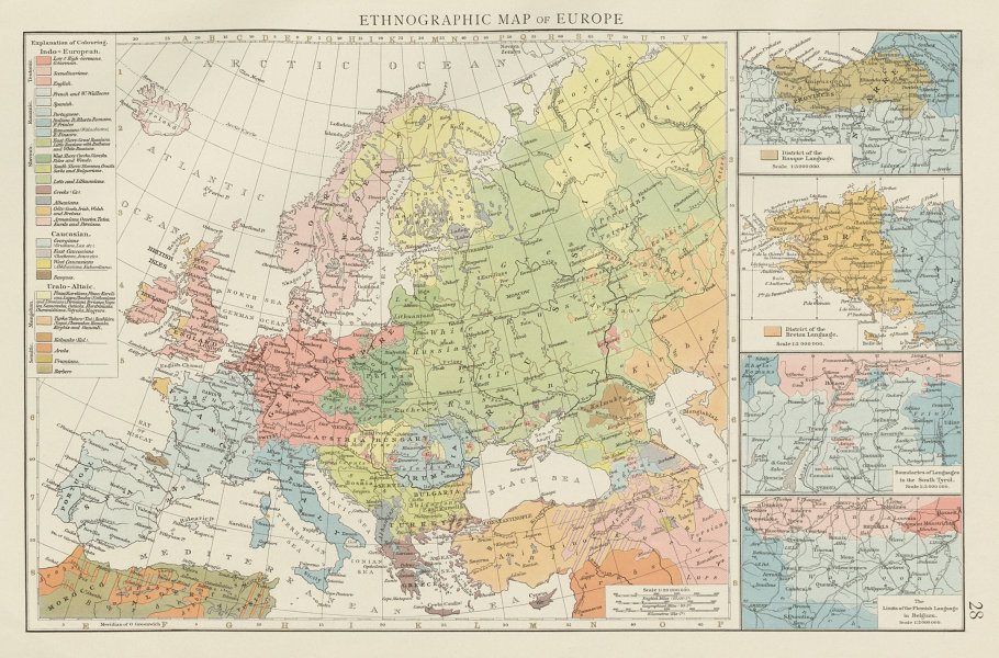 Associate Product Ethnographic map of Europe. Breton Basque Flemish Languages. THE TIMES 1900
