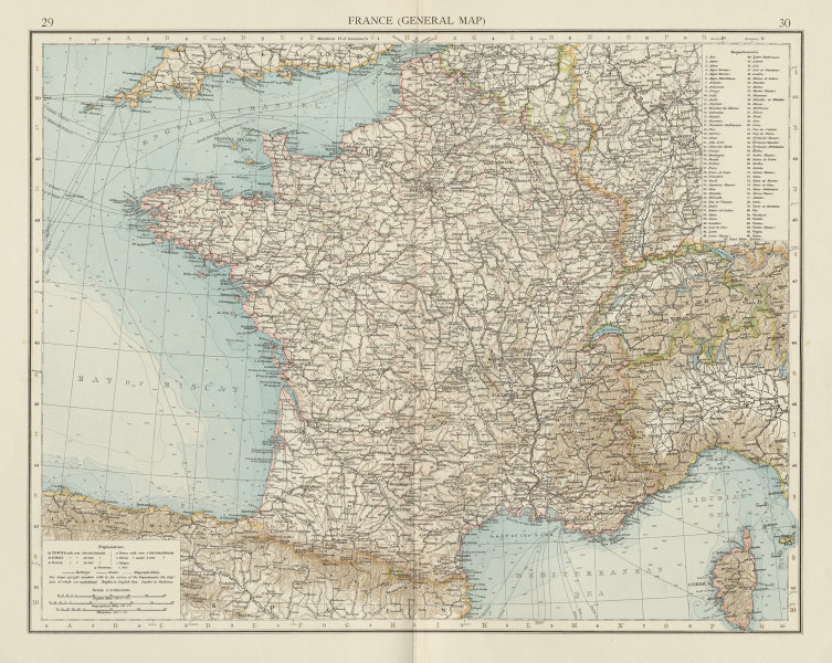 Associate Product France (General map) without Alsace & Lorraine. THE TIMES 1900 old antique