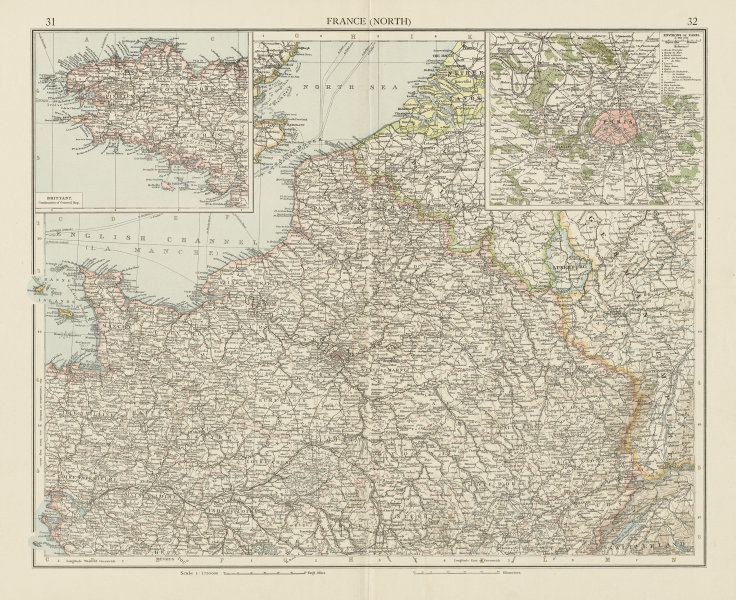 Associate Product France (North). Paris environs. THE TIMES 1900 old antique map plan chart