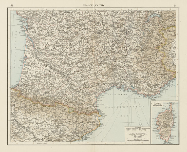 France (South). THE TIMES 1900 old antique vintage map plan chart