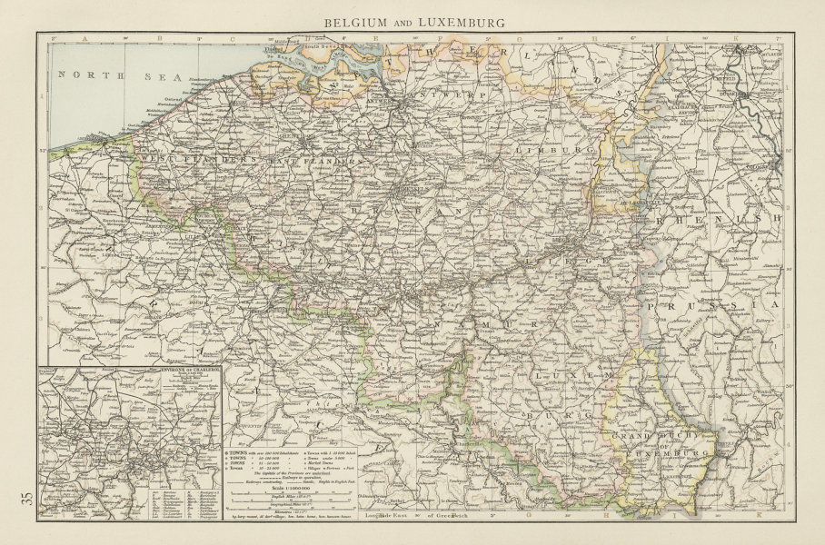 Associate Product Belgium and Luxemburg. Environs of Charleroi. THE TIMES 1900 old antique map