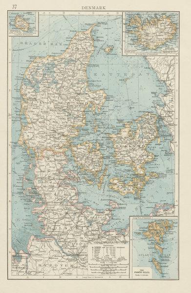 Associate Product Denmark & Schleswig-Holstein. Faroe islands Iceland Bornholm. THE TIMES 1900 map
