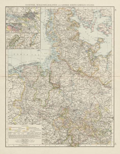 Associate Product Northern Germany. Schleswig-Holstein. Hamburg. Lower Saxony. THE TIMES 1900 map