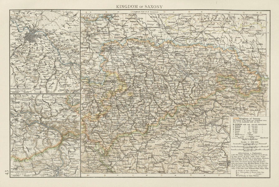 Kingdom of Saxony. Dresden environs. Saxon Switzerland. THE TIMES 1900 old map