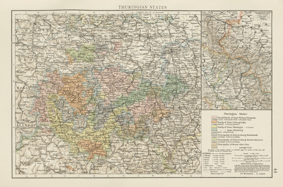 Associate Product Thuringian States. THE TIMES 1900 old antique vintage map plan chart