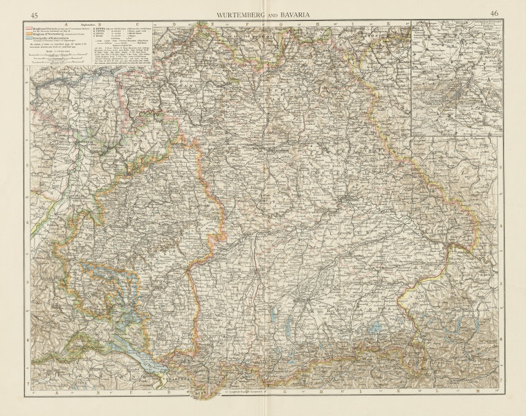Associate Product Wurtemberg and Bavaria. THE TIMES 1900 old antique vintage map plan chart