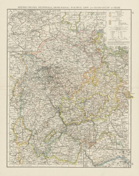 Associate Product Western Germany. Hessen Rhineland Palatinate Nordrhein Westfalen. TIMES 1900 map