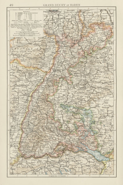 Associate Product Grand-Duchy of Baden. THE TIMES 1900 old antique vintage map plan chart