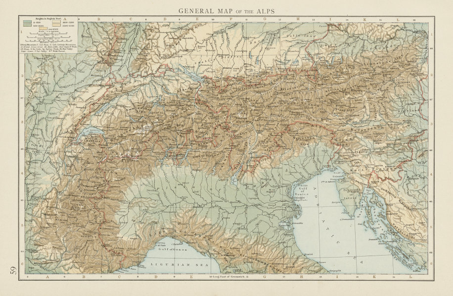 Details about General map of the Alps, showing the alpine ranges. THE TIMES  1900 old
