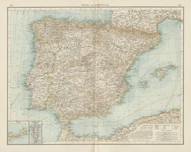 Associate Product Spain & Portugal. Iberia. Telegraph cables. Ceuta & Gibraltar. TIMES 1900 map