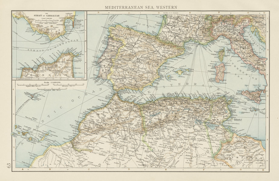 Associate Product Western Mediterranean sea. Strait of Gibraltar. Telegraph cables. TIMES 1900 map