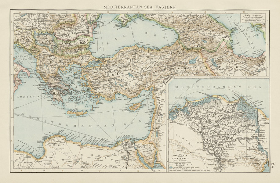 Associate Product Eastern Mediterranean sea. Nile delta. Suez canal. THE TIMES 1900 old map