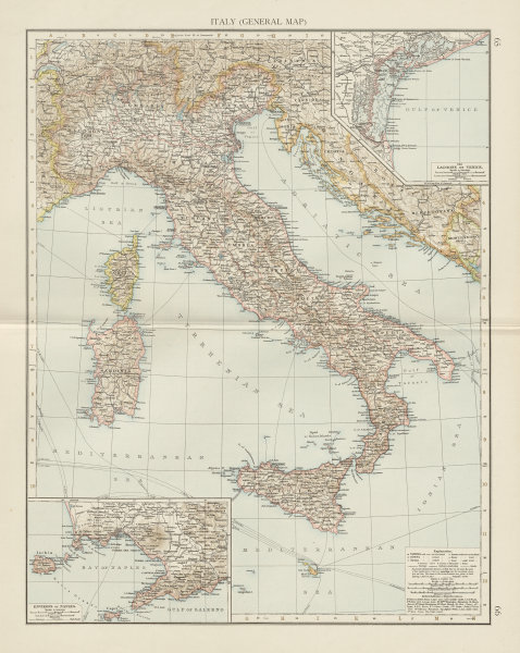 Associate Product Italy (general map). Lagoons of Venice. Environs of Naples. THE TIMES 1900