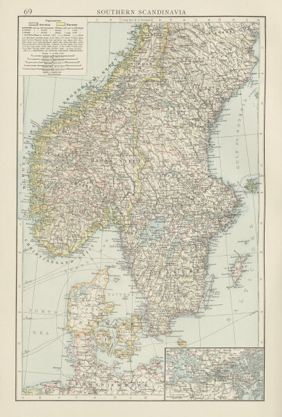 Associate Product Southern Scandinavia. Norway Sweden Denmark. Stockholm environs. TIMES 1900 map
