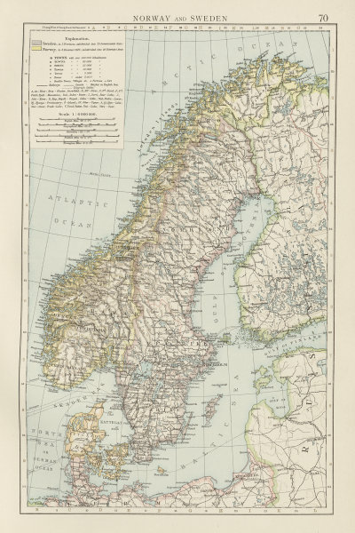 Norway and Sweden. Scabdinavia. Denmark. THE TIMES 1900 old antique map chart